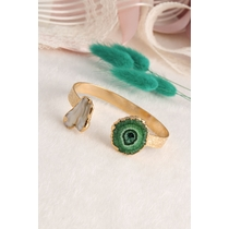 14K Gold-Plated Bronze & Agate Natural Stone