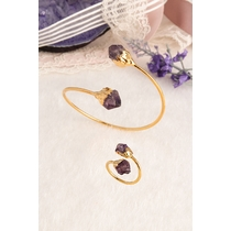 14K Gold-Plated Bronze & Amethyst Natural Stone