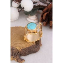 14K Gold-Plated Bronze & Turquoise