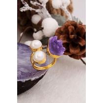 Amethyst & Pearl Ring